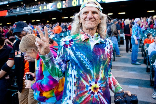 A Grateful Dead fan enjoys the music before a baseball game